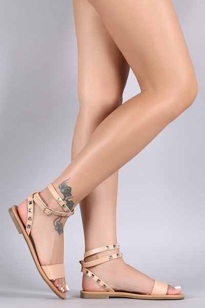 677a1e68631 City Classified Pyramid Studded Ankle Strap Flat Sandal – Purposed By  Design (Honey Skies)