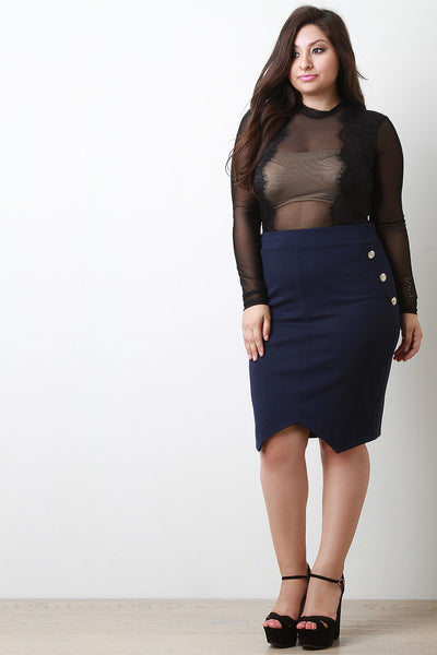 Elasticized Waist Anchor Button Pencil Skirt