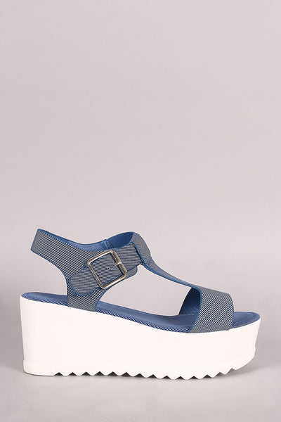 Bamboo Denim T-Strap Open Toe Lug Sole Flatform