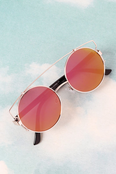 Retro Double Bridge Round Frame Sunglasses