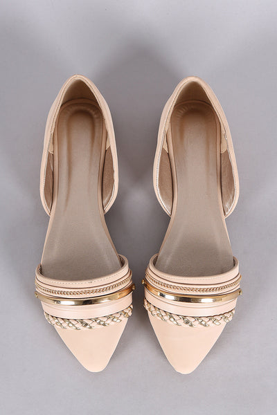Qupid Chain Embellished Pointy Toe Dorsay Flat