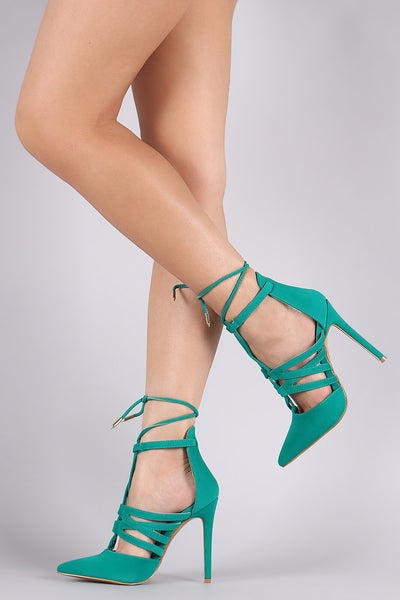 Shoe Republic LA Pointy Toe Lace Up Stiletto Heel