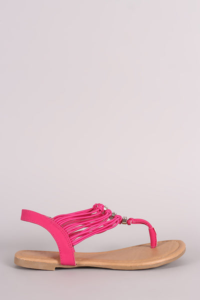 Elasticized Knotted Straps Thong Flat Sandal