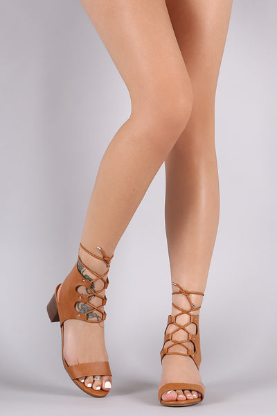 Breckelle Open Toe Lace Up Chunky Heel