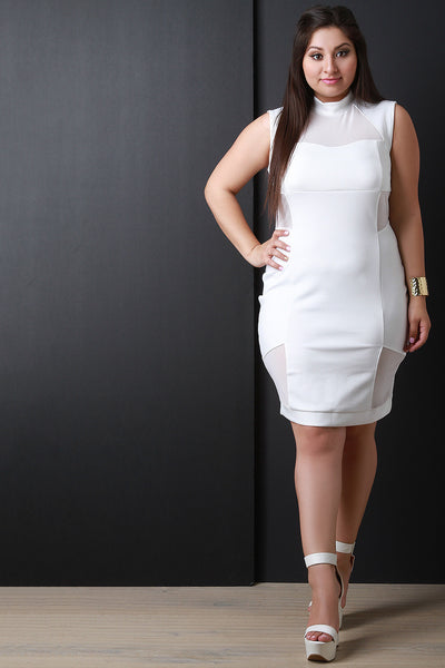 Mock Neck Mesh Patchwork Sleeveless Bodycon Dress
