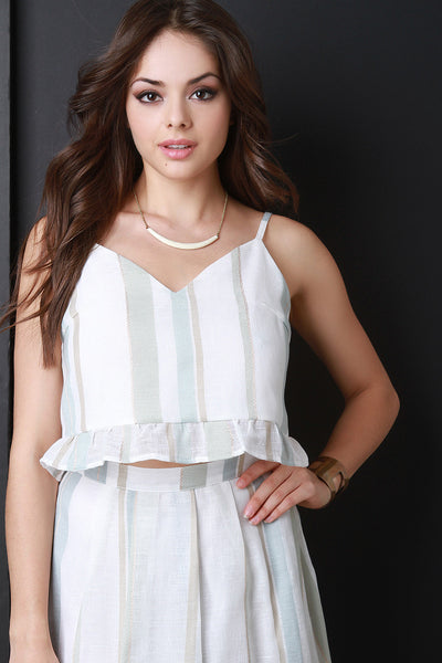 Striped Deep V-Neck Peplum Crop Top