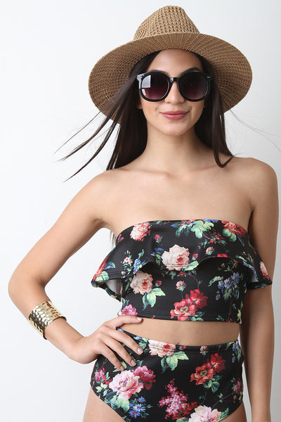 Strapless Floral Print Ruffle Crop Top