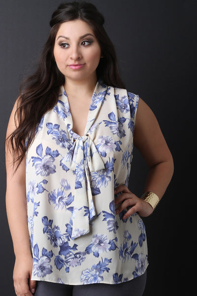 Floral V-Neck Bow Sleeveless Top