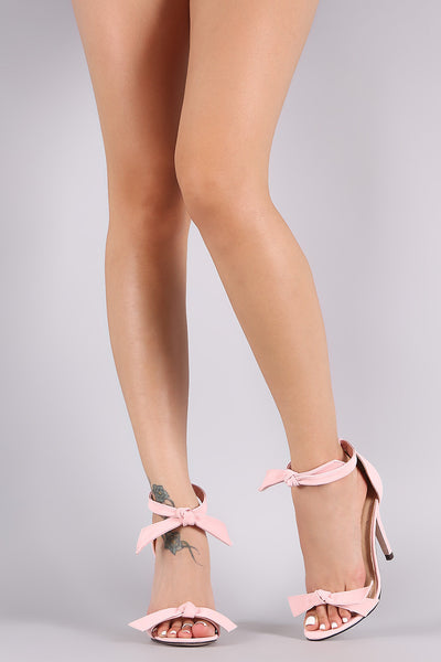 Nubuck Knotted Ankle-Tie Single Sole Heel