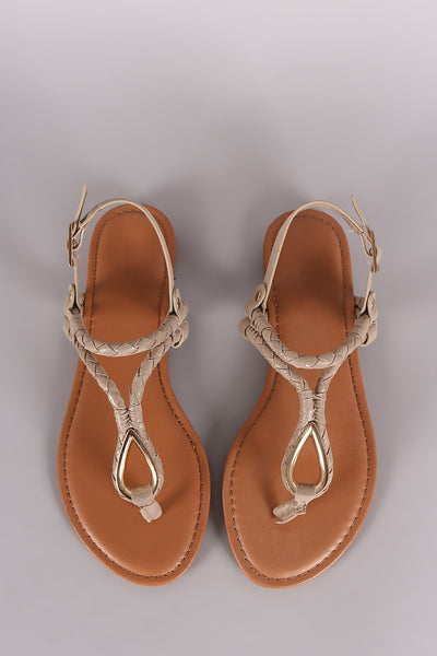 Bamboo Fabric Braided T-Strap Sandal