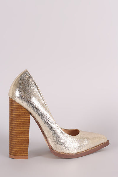84dc93b1b5ed Liliana Metallic Pointy Toe Chunky Heeled Pump – Purposed By Design (Honey  Skies)