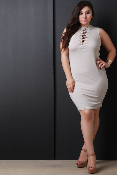 Mock Neck Lace-Up Sleeveless Bodycon Dress