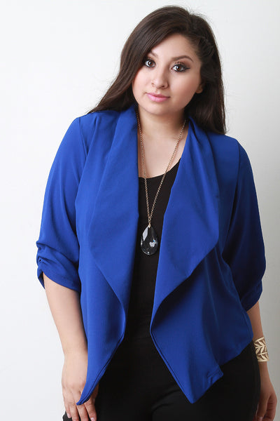 Chiffon Waterfall Open Front Blazer
