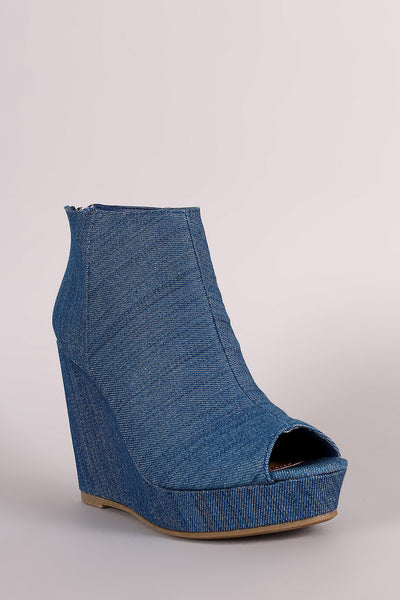 Bamboo Denim Peep Toe Wedge Booties