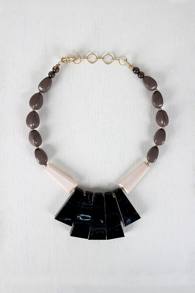 Marble Tiles and Beads Necklace