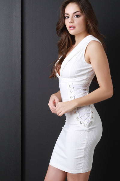 Deep V Side Lace Up Bodycon Dress