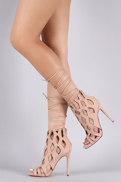 Suede Caged Laser Cut Drawstring Lace-Up Heel