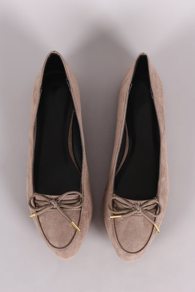 Qupid Almond Toe Bow Loafer Flats