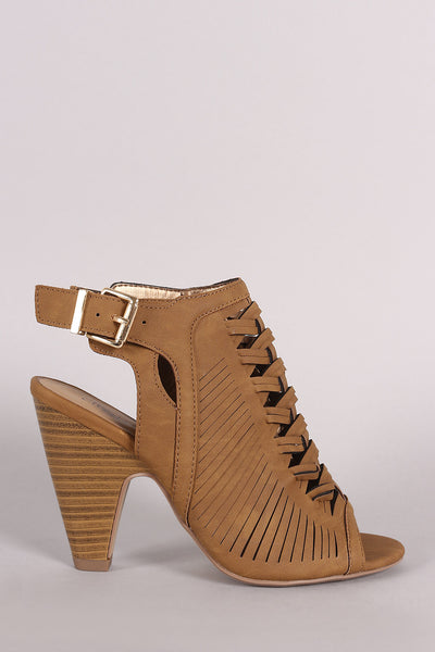 City Classified Woven Slashed Open Toe Mule Heel