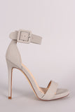 Nubuck Buckled Ankle Strap Stiletto Heel