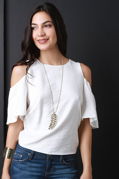 Cold Shoulder Open Tie Back Top
