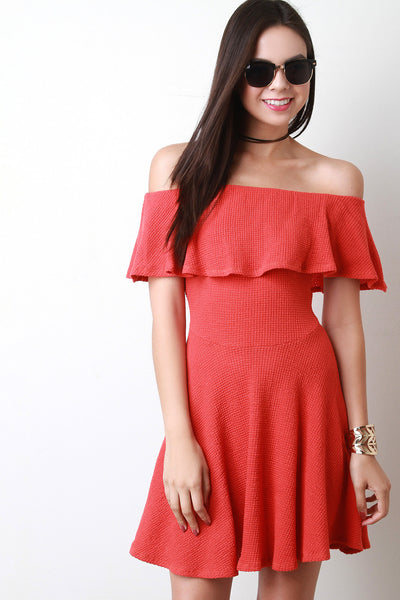 Ruffle Off The Shoulder Themal Knit Mini Dress