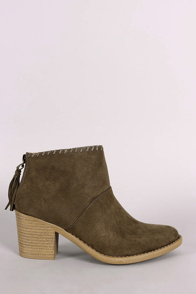 Qupid Suede Almond Toe Tassel Booties