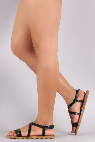 9ad598356e0 Sold Out Bamboo Strappy Crisscross Open Toe Flat Sandal