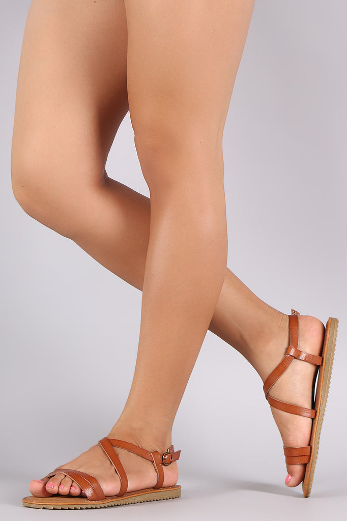 43172c5178a2 Bamboo Strappy Crisscross Open Toe Flat Sandal – Purposed By Design ...