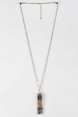 Beaded Tassel Pendant Necklace
