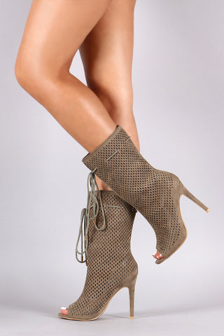 Perforated Suede Drawstring Mid-Calf Boots