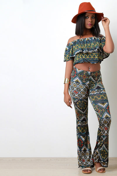 Ethnic Print Bell Bottom Pants