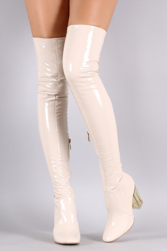 79f3bc09f609 Patent Leather Chunky Lucite Heeled Over-The-Knee Boots – Purposed ...