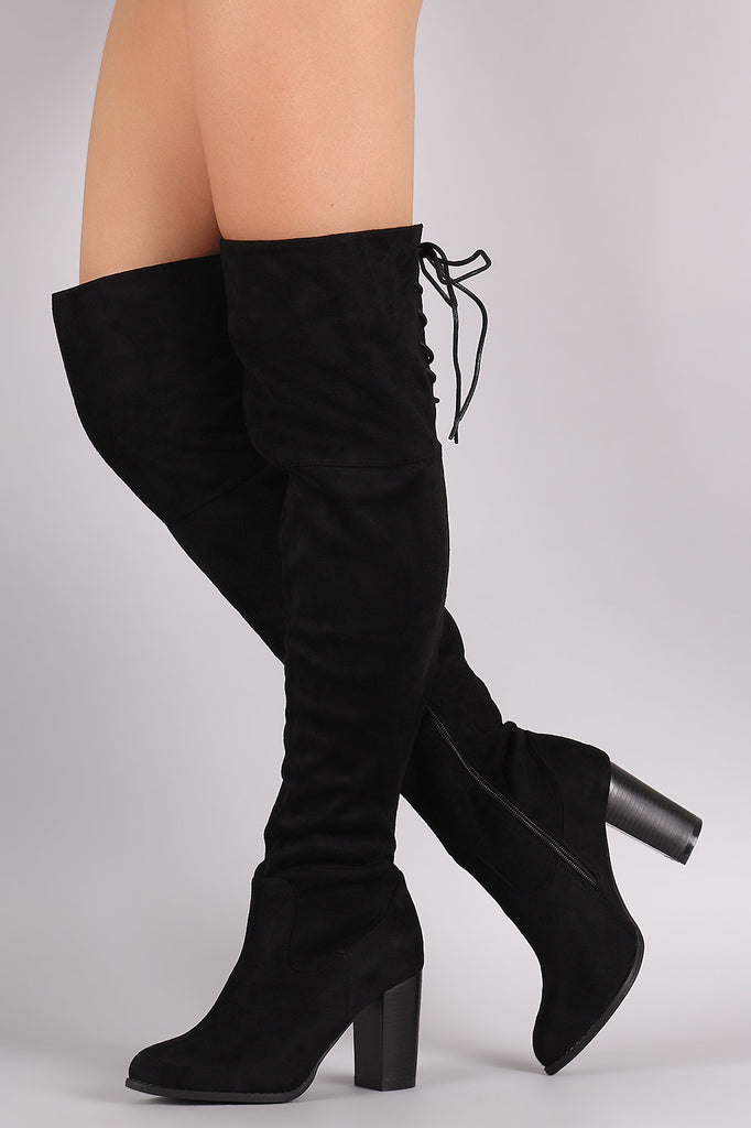 9cd109009a91 ... Qupid Suede Back Lace-Up Chunky Heeled Over-The-Knee Boots ...