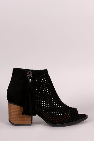 Qupid Suede Mesh Peep Toe Booties