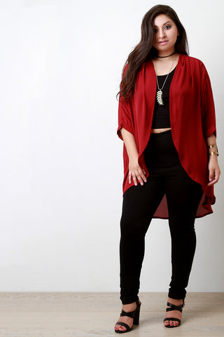 Chiffon High Low Open Front Cardigan