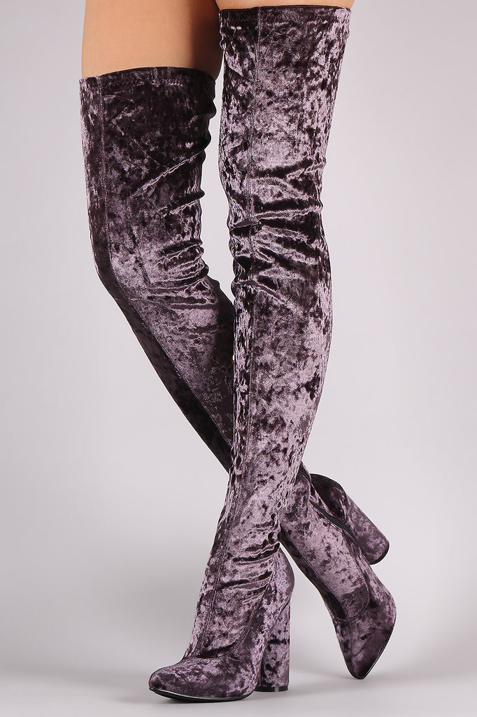 588b9ae6ad929 Crushed Velvet Pointy Toe Chunky Heel OTK Boots – Purposed By Design ...