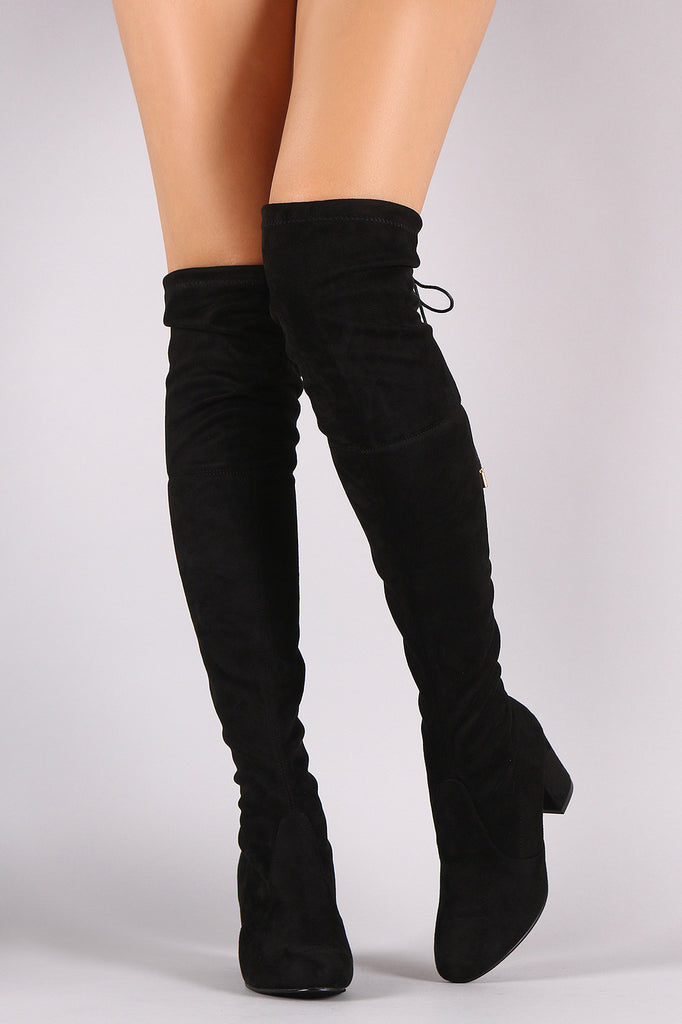 955d4d27a9 Suede Drawstring Tie Chunky Heeled Over-The-Knee Boots – Purposed By ...