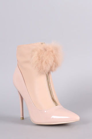cf3b886d30e Sold Out Privileged Pom Pom Zip Up Front Stiletto Heeled Booties