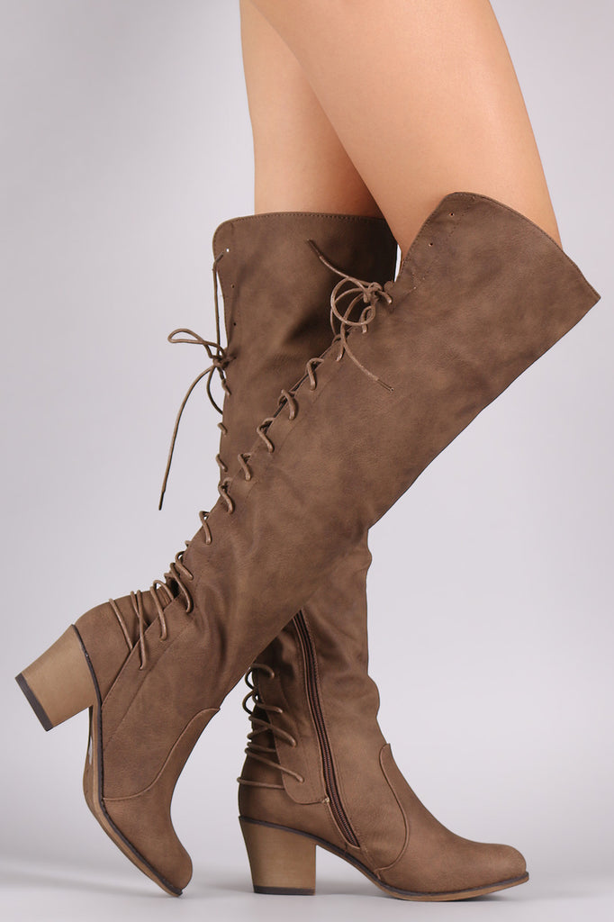 b35ba34f463 Vegan Leather Back Lace Up Over The Knee Boots