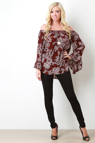 Bell Sleeve Off The Shoulder Paisley Print Top