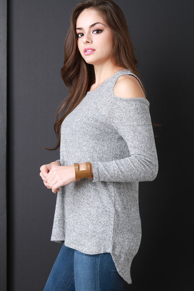 1e564e8ed13 Cold Shoulder Marled Knit Sweater Top – Purposed By Design (Honey Skies)
