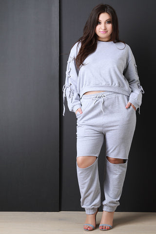 Cut Out Knee Drawstring Jogger Pants