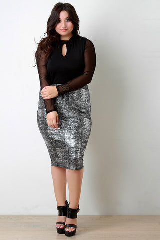 Crinkle Foil High Waist Pencil Skirt