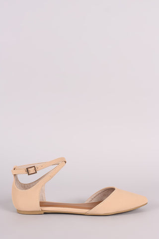 Bamboo Nubuck Crisscross Ankle Strap Pointy Toe Flat