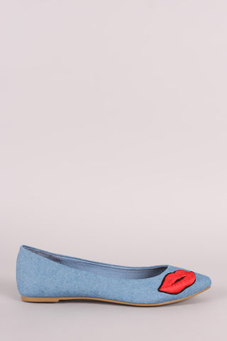 Bamboo Denim Lip Patch Pointed Toe Flat