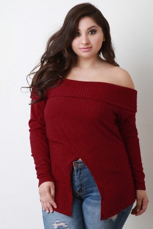 Banded Off-The-Shoulder Long Sleeves Wrapped Top
