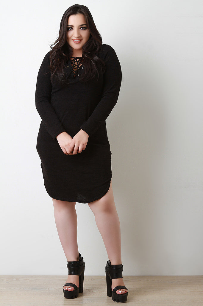 66bef3a088d Plus Size Lace-Up Round Hem Sweater Dress – Purposed By Design ...