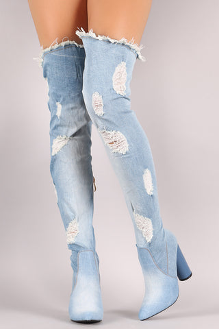 Destroyed Denim Pointy Toe Round Heeled Over-The-Knee Boots