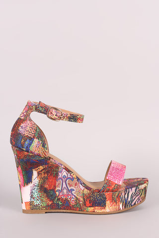 Bamboo Abstract Print Ankle Strap Platform Wedge